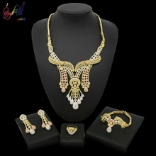 Yulaili 2019 New Arrival Dubai Jewelry Sets Unique Atmosphere Design Necklace Four Pcs For Women Gift Wedding Party Daily Wear