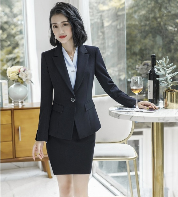 5637f268961 Formal Uniform Styles Elegant Black Jackets Coat and Skirt For Women  Business Work Wear Ladies Office Professional Sets Outfits