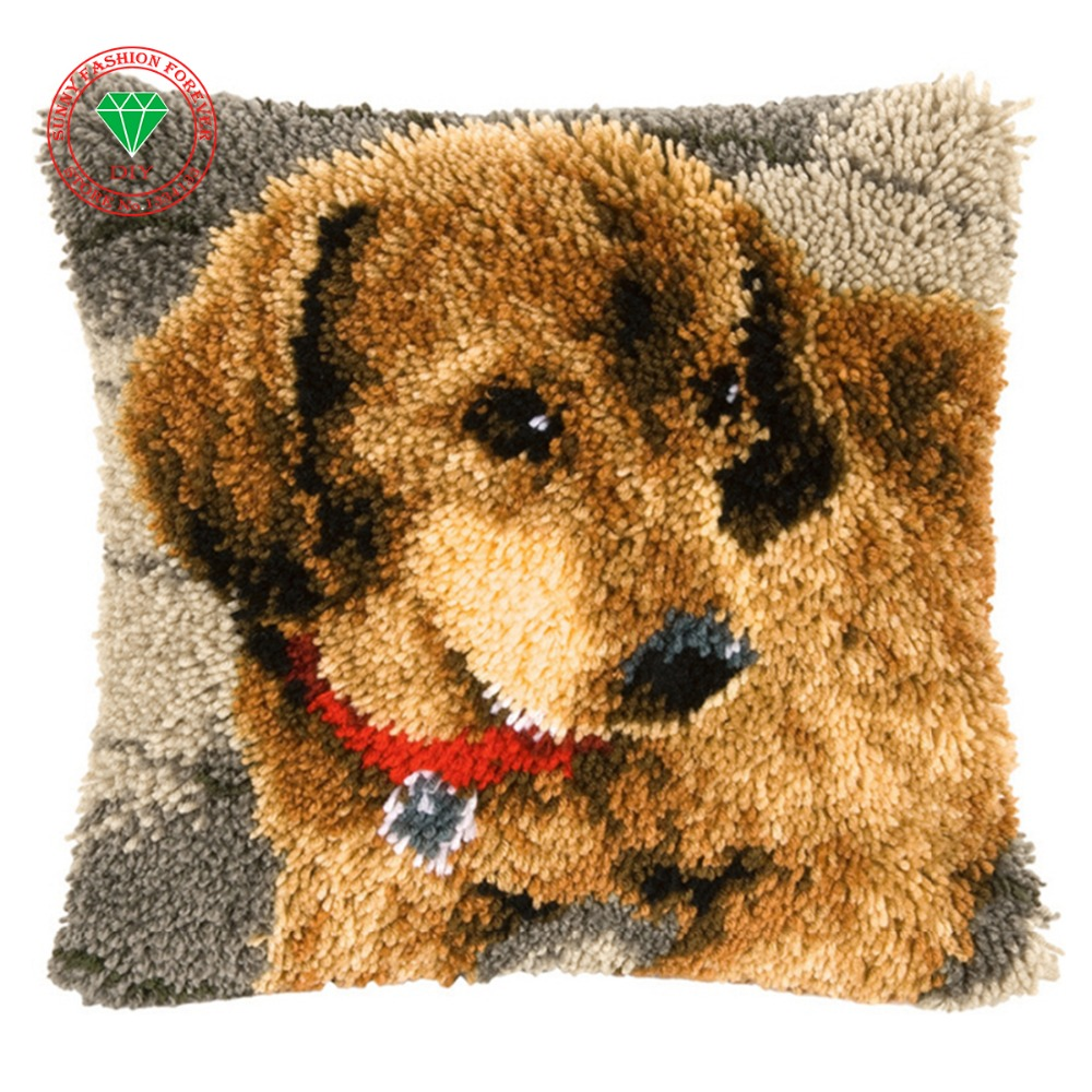 Us 16 21 45 Off Dog Pillow Cushion Decor Carpet Latch Hook Rug Kits Pillowcase Home Crochet Hooks Embroidery In
