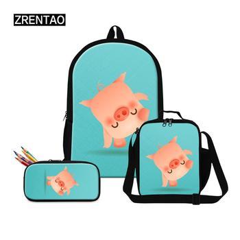 Cute Happy Pig Cartoons Preschool Toddlers Boy Girl Large Backpack Sets Oxford Canvas Schoolbag Book Rucksack (Black/Green/Pink)