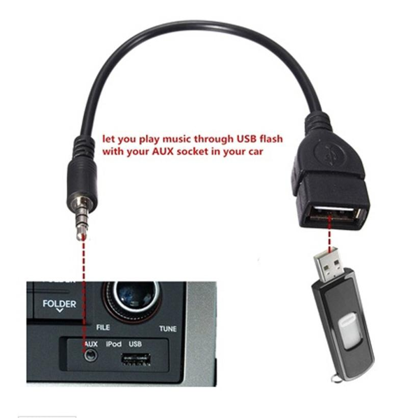 3.5mm Male Audio AUX Jack To USB 2.0 Type A Female OTG Converter Adapter Cable DE08 Drop Shipping