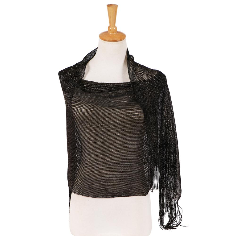 Fashion Glossy Solid Color Tassels Soft Banquet Evening Party Women Shawl Scarf Wrap new