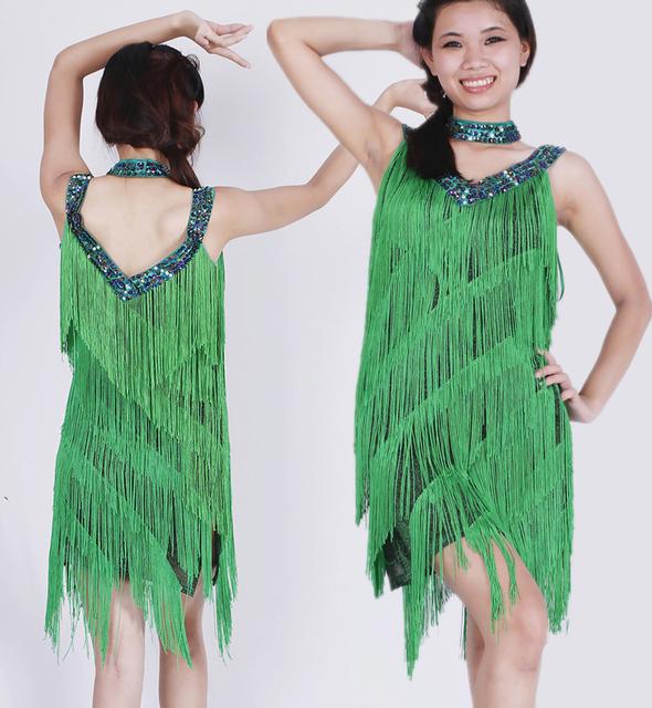 Emerald green fringe dress for women