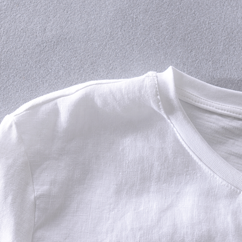 Fashion new summer white t shirt men linen brand tops casual t-shirt mens casual round neck tshirt male camiseta chemise camisa