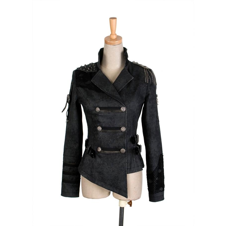 Gothic Handsome Military Punk Black Coat Women Steampunk Cool Asymmetric Length Army Jacket Autumn Winter Epaulet