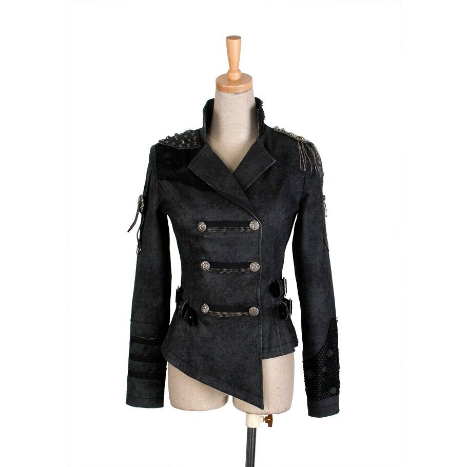 Gothique Beau Militaire Punk Noir Manteau Femmes Steampunk Cool Asymétrique Longueur Armée Veste Automne Hiver Épaulette