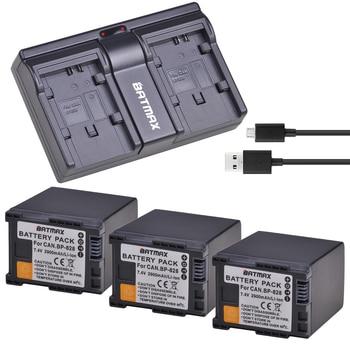 3PCS 2900mAh BP-828 BP828 battery +USB Dual Channel Charger for Canon VIXIA HF G30, G40, XA20, and XA25 Camcorders Batteries
