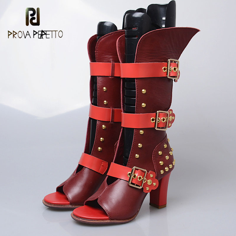 Prova Perfetto rome style genuine leather front hollow belt buckle high heel sandals for women rivet sexy open toe boots sandals stylish pin buckle rivet perforated wavy edge light coffee belt for women