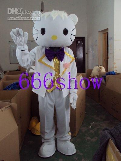 Cartoon Mascot Costume girl dress lovely hello kitty cat