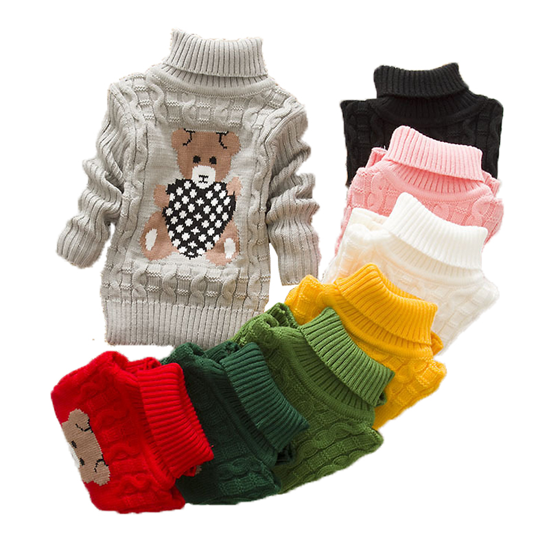 2018 Winter Girls Warm Sweaters Boys Thick Knitted Turtleneck Sweaters Baby High Collar Pullover Cartoon Bear Sweater Kids Coats 1