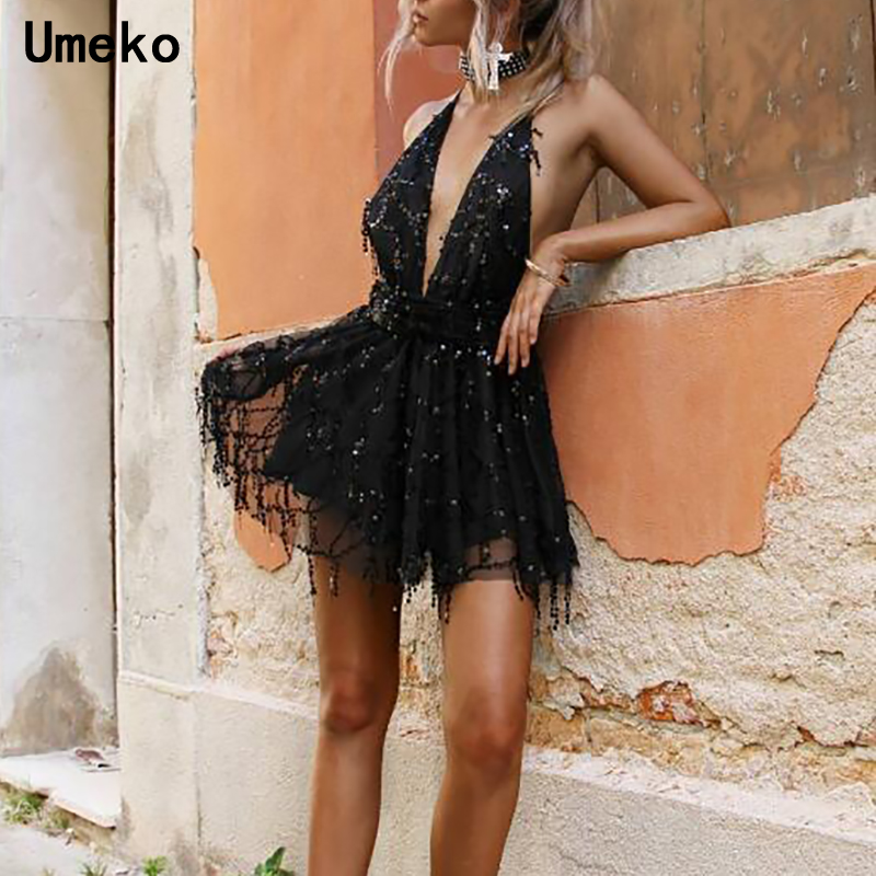 Women Sexy Dress Party Night Club Sequin Backless Bandage Spaghetti Strap Deep V Neek Sleeveless Female Mini Dress in Dresses from Women 39 s Clothing