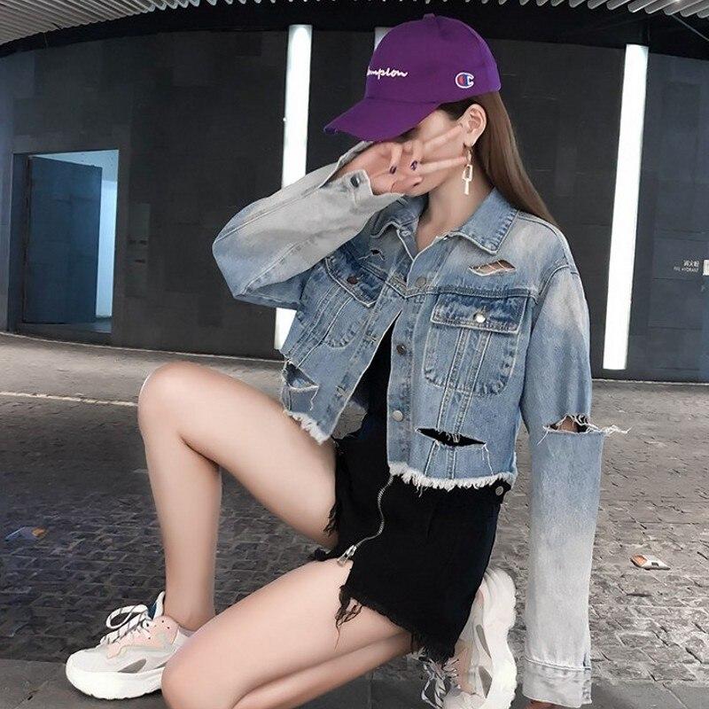 Femmes Trou Court Jeans Manches Denim Gland Vestes Hip S Tops Déchiré Light Bombardier Longues Boyfriend Veste xl Hop Harajuku Blue Manteaux Lâche C0Iqdwwn