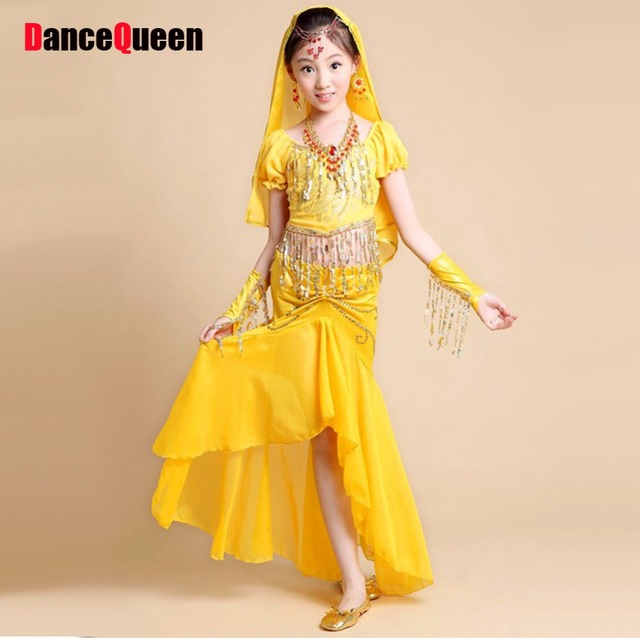 2017 Girls Indian Dance Costumes Red Rose Yellow Kids Costume For Belly  Dance 2pcs 298a8ef4b45c