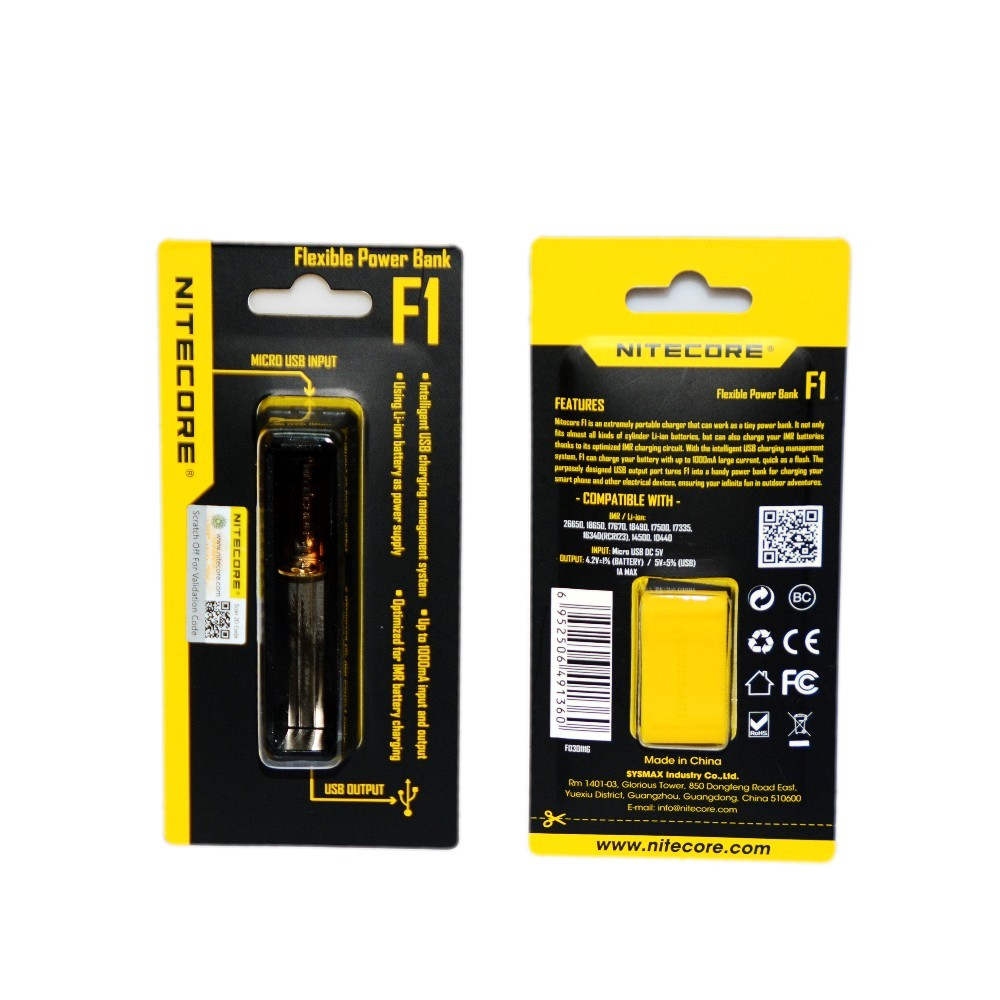 2016 NITECORE New Original F1 5V 1A USB Intelligent Finger Lithium Battery Charger Outdoor Power Bank for 18650 10440 14500 image