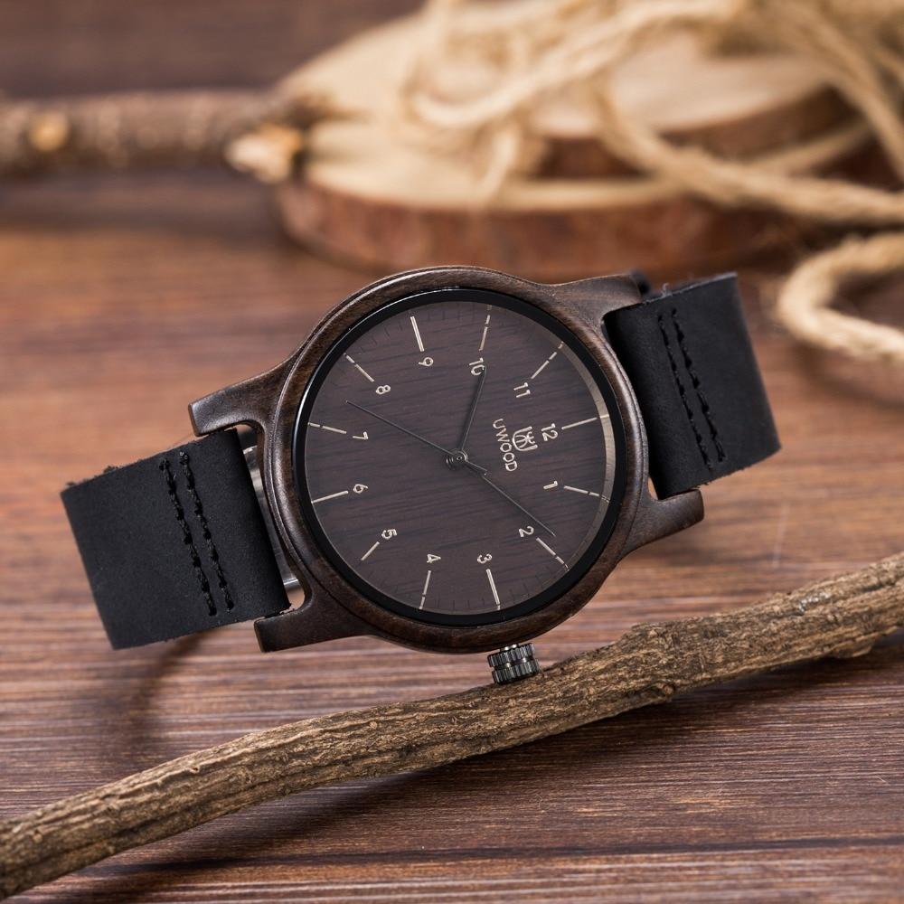 все цены на 2018 Hot Fashion Unisex UW3008 Quartz Wooden Watch Men Casual Male Gentlemen Classic Leather Wristwatch Sports Military Men`s