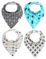 От 3 до 24 месяцев детские бандана слюни нагрудники шарф биб мужская 4-Pack вату с защелками милый ребенок подарок для мальчиков и девочек