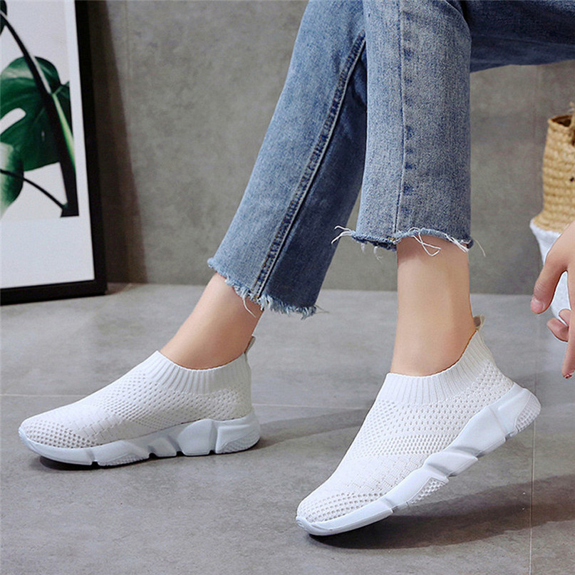 2018 New Outdoors adults trainers Running Shoes woman sock footwear sport athletic unisex breathable Mesh female Sneakers #2a (18)