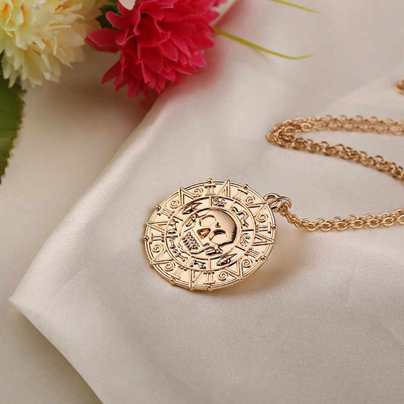 New Vintage Necklace Pirates of the Caribbean Aztec Gold Coin Necklace