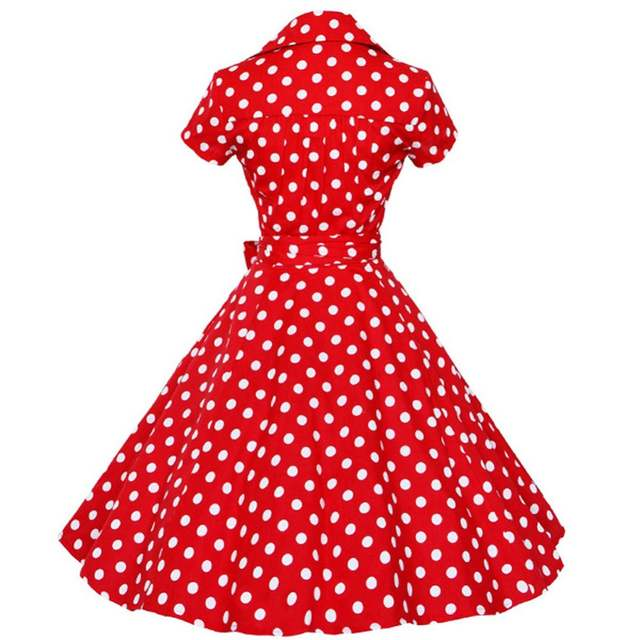 840de7b093d91 US $8.59 49% OFF|Kenancy Plus Size 4XL Women Retro Dress 50s 60s Vintage  Rockabilly Swing feminino vestidos V neck short sleeves Dot print Dress-in  ...