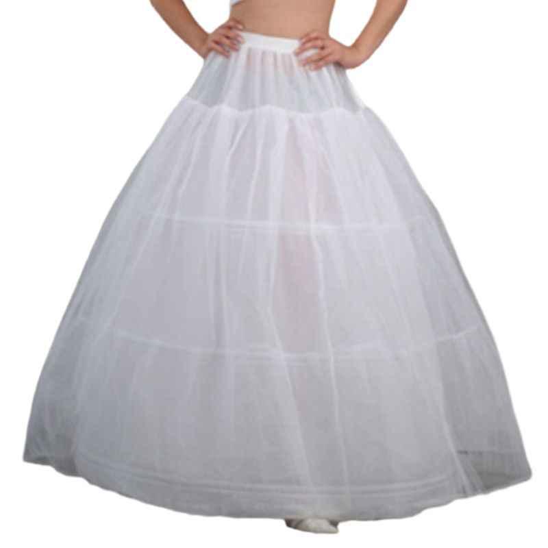 נשים כלה 3 חישוקי מקסי-אורך תחתונית שרוך החגורה רב שכבתי כדור שמלת חתונה שמלת המולת קרינולינה תחתוניות