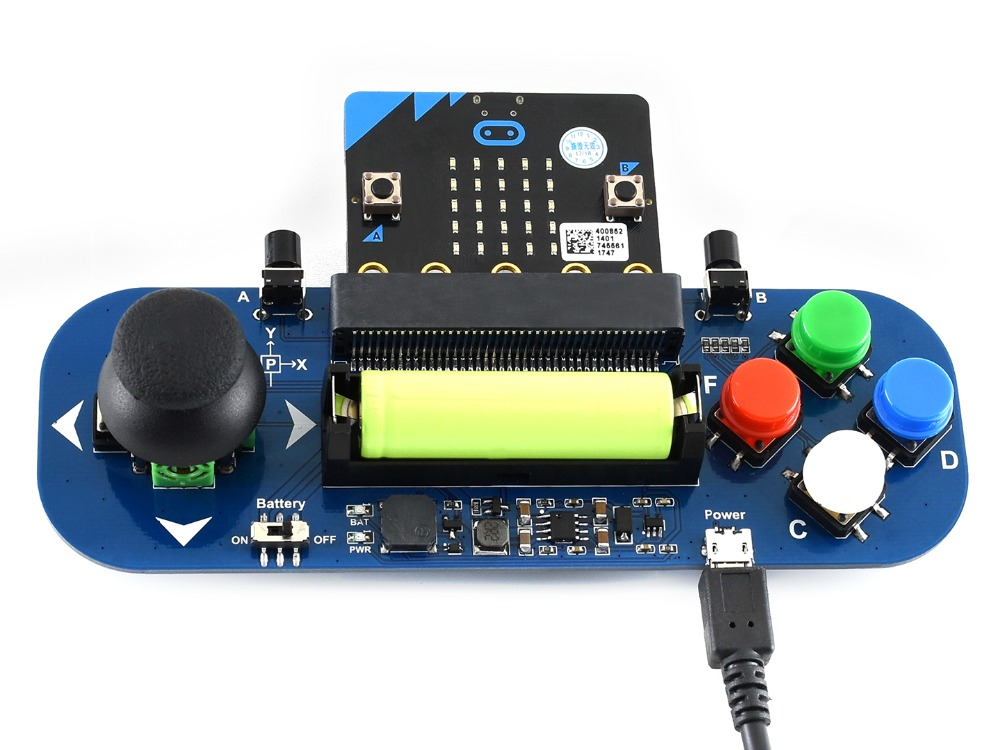 Waveshare Gamepad Expansion Module For Micro:bit Joystick And Buttons Plays Music Powered From Battery Also Charges The Battery