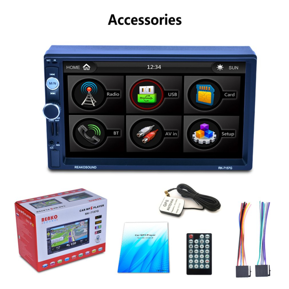 Multifunctional Car MP5 Player with 7 HD LCD Touch Screen with RDS & BT & Mirror Link & GPS Function RK-7157G лодочный электромотор minn kota ulterra 80 i pilot link bt 152см 24v