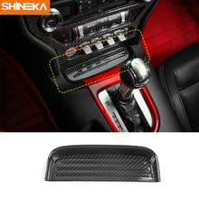 SHINEKA In Fibra di Carbonio Della Moneta Scatola di Immagazzinaggio Cassetto Pad Pannello di Rivestimento Adesivo per Ford Mustang 2015 + Car Styling