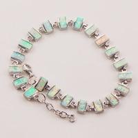 Free Shipping White Fire Opal 925 Sterling Silver Bracelet 7.5+0.5 P87