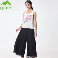 2018 new Women suits 3 pieces summer sets lady silk sling coat cotton chiffon Pants embroidery flowar coat female office sets