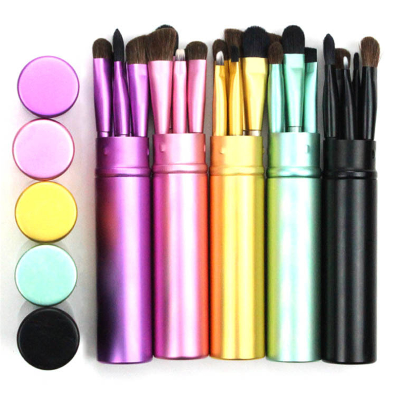 BBL 5pcs Travel Portable Mini Eye Makeup Brushes Set Reals Eyeshadow Eyeliner Eyebrow Brush Lip Make Up Brushes kit Techniqueing