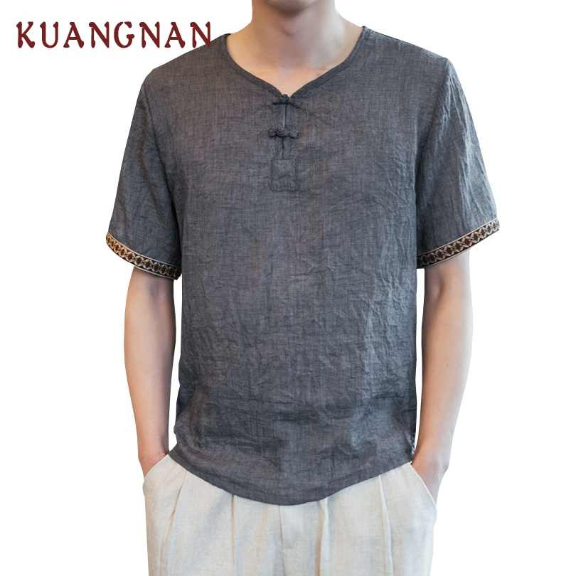 KUANGNAN estilo chino lino blanco camiseta hombres moda Harajuku Streetwear divertida camiseta hombres camiseta Hip Hop camiseta hombres 2019