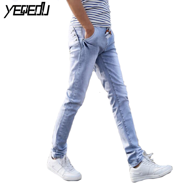 #1048 Spring summer jeans men Lightweight Pencil jeans Casual skinny jeans men Elastic waist jeans masculino Pantalon homme