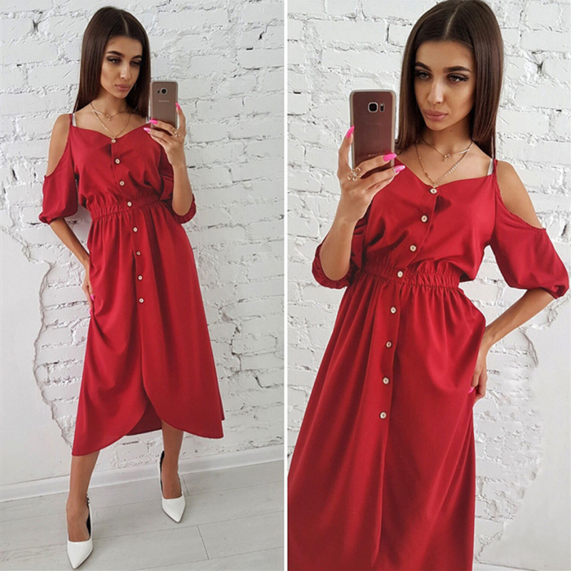 2018 Casual women's summer elegant sexy sling sleeve dress Fashion retro long ladies dress Solid color sexy sling comfort dress