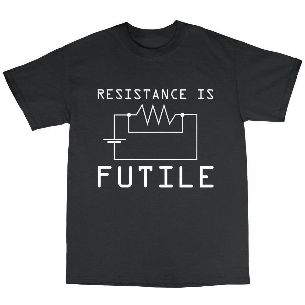 Shirt Design Mens Crew Neck Resitance Is Futile T-Shirt 100% Cotton Geek Nerd Genius Computer Spock Short Printing Machine T