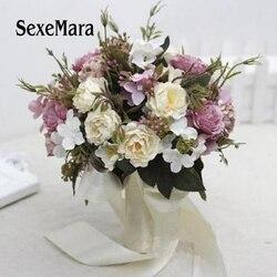 جديد وصول 6 ألوان الزفاف باقة اليدوية buque دي noivas الزفاف الزهور الزفاف باقات راموس دي novia 01