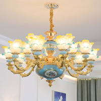 China Chandelier Luxury Living Room Hanging Lamp Bedroom Study Blue Ceramics Chandelier Personality Restaurant Glass Chandeliers