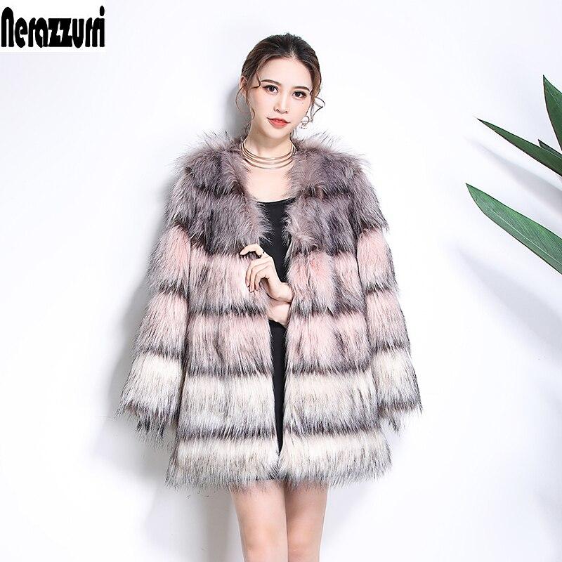Nerazzurri пальто из искусственного меха женская постепенная цветная шуба из искусственного меха Меховой пушистый жакет зимняя верхняя одежда с искусственным лисьим мехом больших размеров 5xl