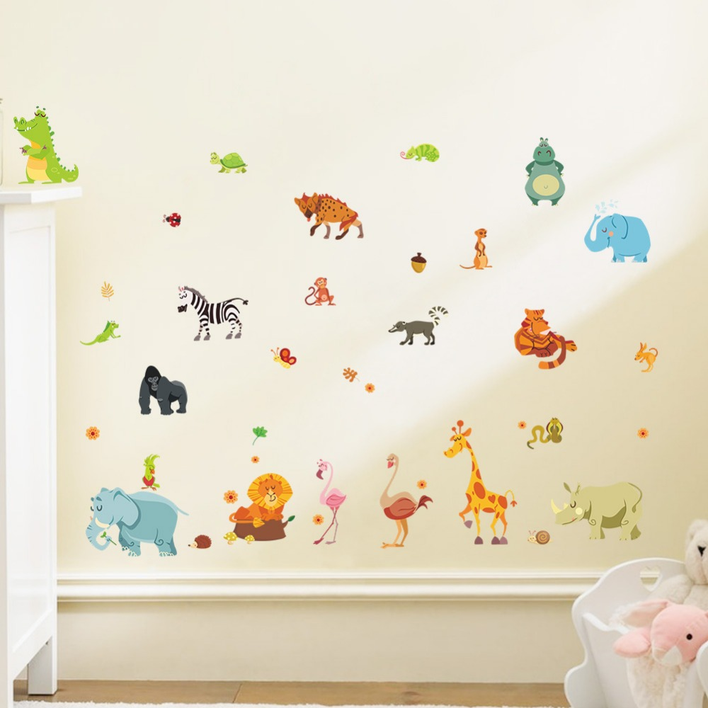 Jungle wild animals diywall sticker for kids baby nursery room jungle wild animals diywall sticker for kids baby nursery room cartoon wall stickers home decor 1228 funiture decoration in underwear from mother kids on amipublicfo Images
