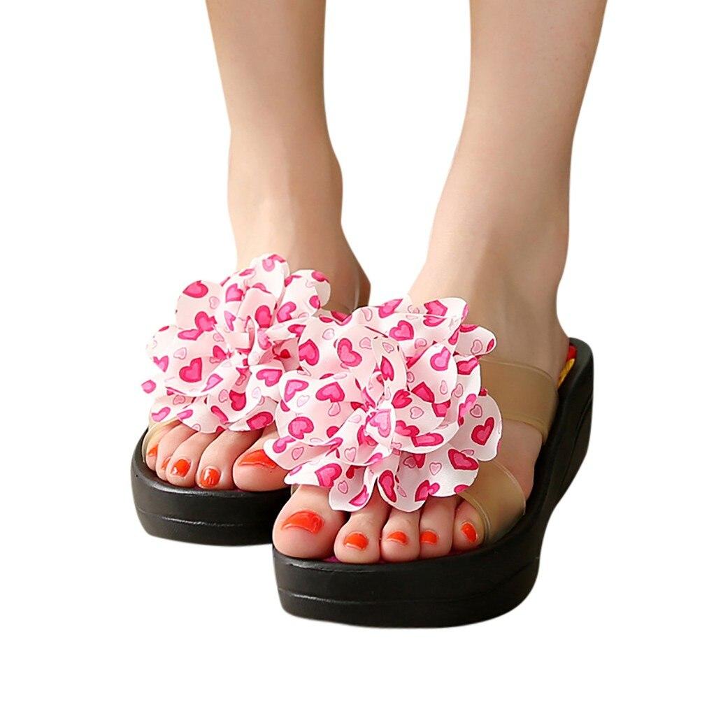 Flip-flops Schuhe Sagace Frauen Mädchen Floral Keile Böhmischen Stil High-heel Hang Anti-skid Flip-flops Slip Auf Casual Outdoor Strand Blumen Schuhe