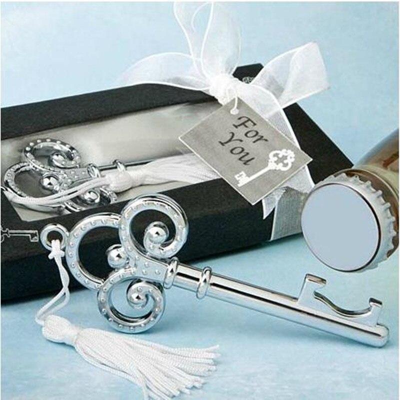 Argent corneille Clés Ouvre-bouteille dans une boîte cadeau pour les invités 30 pcs/lot faveur de mariage et cadeaux d'anniversaire Souvenirs cadeaux D'affaires