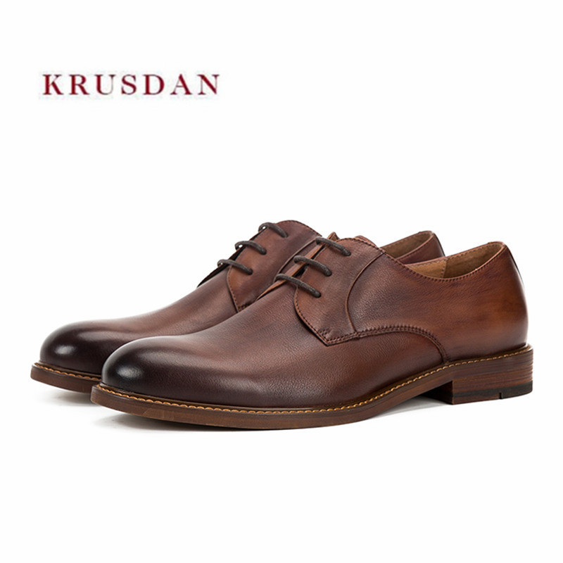 KRUSDAN Fashion Brown Men Shoes Genuine Leather Indian Slippers Dress Business Wedding Shoes Men's Party Footwear Formal Oxfords top quality business men cow real leather shoes black brown oxfords for man work dress footwear wedding formal shoes
