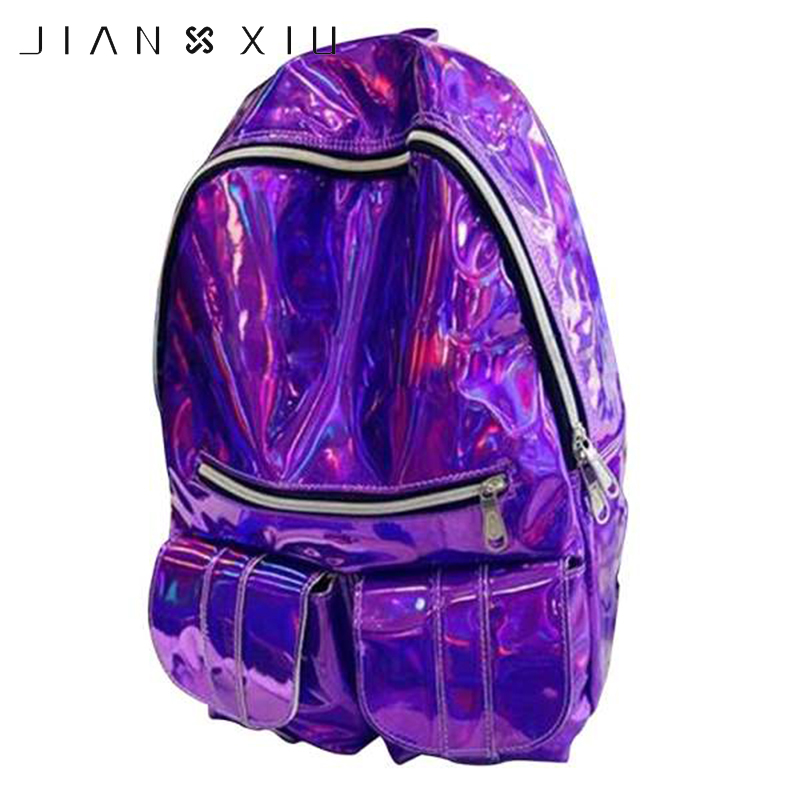 JIANXIU Holographic Backpack Bag Laser Daypack For Teenage Boys Girls Students School Bag Backpack PU Leather Hologram Bags yesello embroidery letters crybaby hologram laser backpack women soft pu leather backpack school bags for girls nbxq194