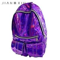 JIANXIU Holographic Backpack Bag Laser Daypack For Teenage Boys Girls Students School Bag Backpack PU Leather Hologram Bags