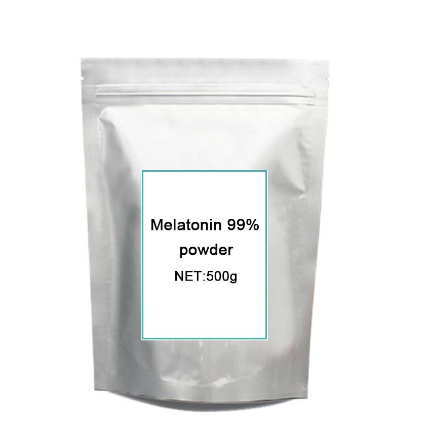 500grams High quality Nutritional sleep well Supplement Melatonin powd-er free shipping 1 bottle melatonin softgel melatonin soft capsule improve health anti aging protect prostate improving sleep