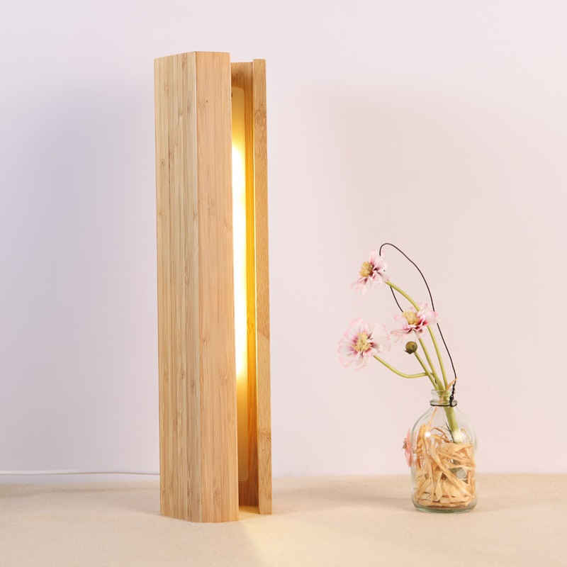 LukLoy Creative Home Wooden Pentagonal Table Lamp Bedroom LED Bedside Lamp Hotel Restaurant Bamboo Decoration Small Night Light led night light dimmable wooden desk lamp usb bamboo table lamps creative bedside reading lighting home decoration gift
