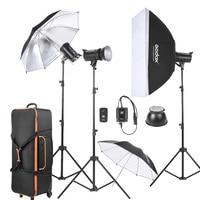 Godox DE300 3*300WS Studio Photo Strobe Flash Light Kit with Stand/Softbox/Reflector Umbrella/Soft Umbrella/Flash Trigger/Shade