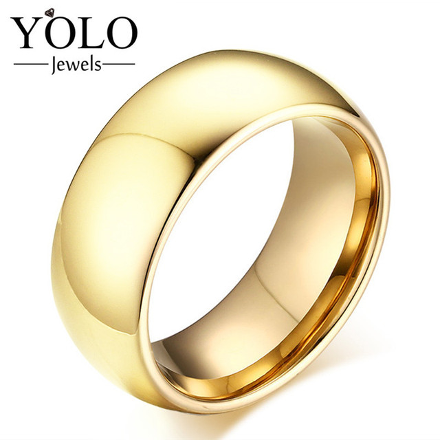 Minimalist Gold Color Tungsten Wedding Rings for Men Trency Ring for Boys Suitable for Engagement Love Gift for Boyfriend 2018