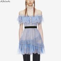 Self Portrait slash neck off the shoulder lace patchwork dress female 2018 summer new product slim A line vestidos mini dress