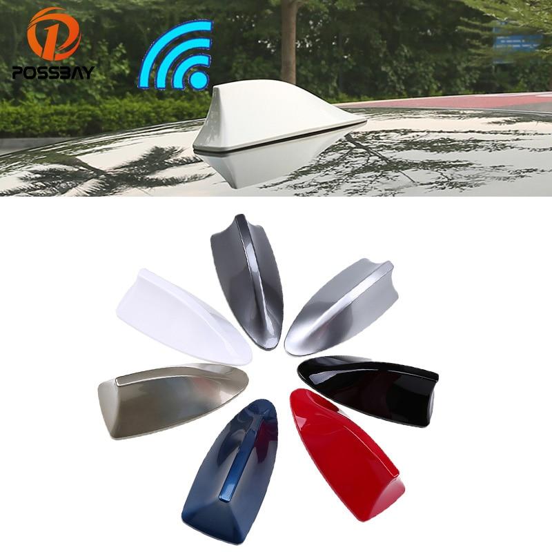 POSSBAY ABS Universal Car Roof Shark Fin Antenna Radio Signal Aerials AM/FM Amplifier for BMW VW Ford Renault Car Antennas