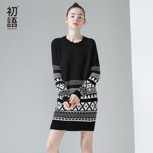 Toyouth 2017 Autumn Women Sweater Dress Geometric Pattern Long Sleeve Pullover Long Sweater